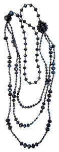 Other Gunmetal Gray Crystal Bead Triple 3- Strand Long Necklace Sparkling!