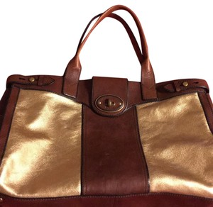 Fossil Tote in Brown & Gold