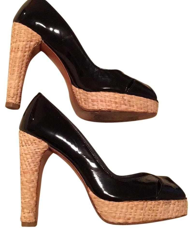Stuart Weitzman Black Wicker Wicker Black Heel Platforms 443896