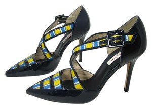 L.K. Bennett Criss-cross Navy Patent Buckle Heels navy, yellow Pumps