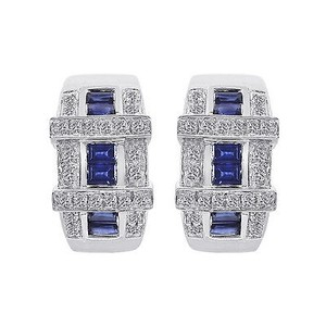 0.40 Carat Diamond And 0.60 Carat Sapphire 14k White Gold Earings