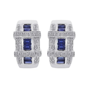 Avital & Co Jewelry 0.40 Carat Diamond And 0.60 Carat Sapphire 14k White Gold Earings
