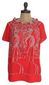 Anthropologie Peasant Embroidered Top ORANGE