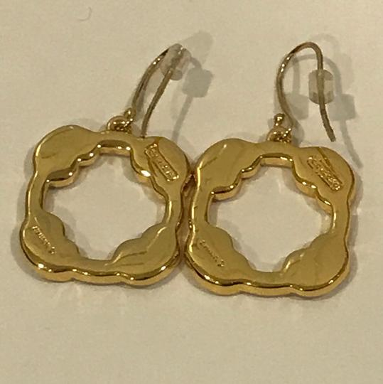 Coach New Coach Gold Tone With Clear Pave Stones Dangle Pierced Earrings