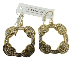 Coach Nwt Coach Gold Tone With Clear Pave Stones Dangle Pierced Earrings