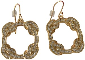 Coach New Coach Gold Tone Pave Dangle Pierced French Hook Earrings