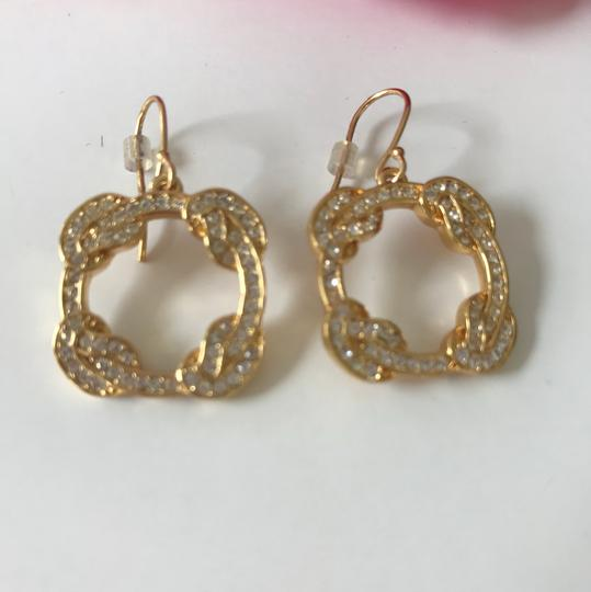 Coach New Coach Gold Tone Pave Dangle Pierced French Hook Earrings Image 1