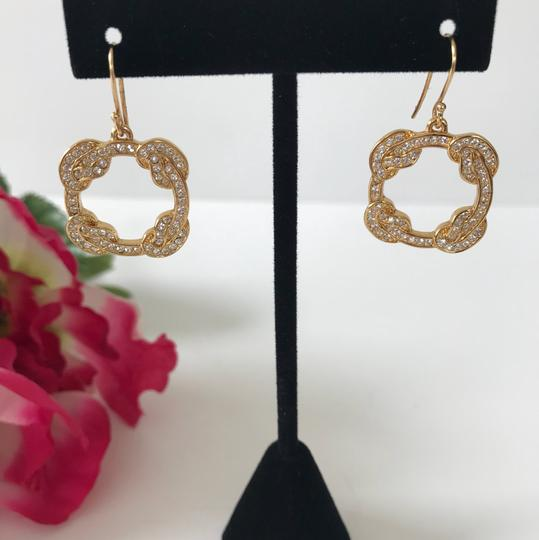 Coach New Coach Gold Tone Pave Dangle Pierced French Hook Earrings Image 2