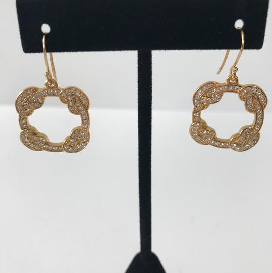 Coach New Coach Gold Tone Pave Dangle Pierced French Hook Earrings Image 3