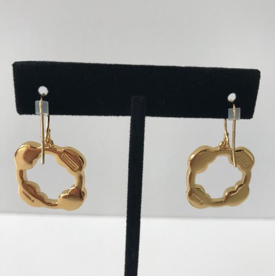 Coach New Coach Gold Tone Pave Dangle Pierced French Hook Earrings Image 4