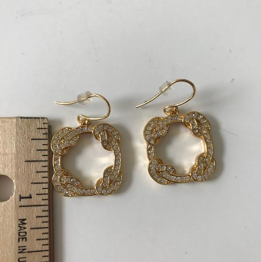 Coach New Coach Gold Tone Pave Dangle Pierced French Hook Earrings Image 5