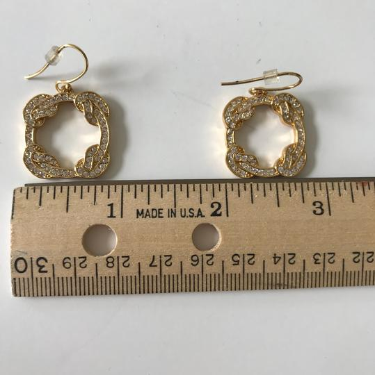 Coach New Coach Gold Tone Pave Dangle Pierced French Hook Earrings Image 6