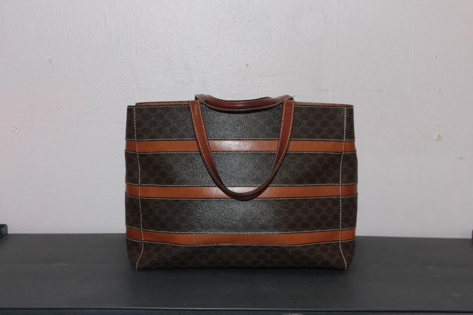authentic celine bags - C��line Monogram Striped Neverfull Celm1 Brown Tote Bag | Totes on ...