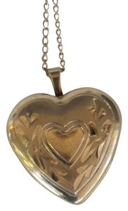 Antique Gold Filled Engraved Heart Locket Necklace Sweetheart Mother's Day