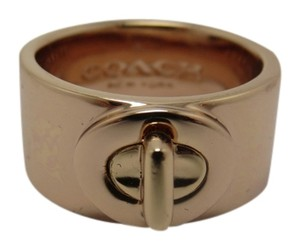Coach New Coach Rose Gold Tone Turn Lock Ring Size 7