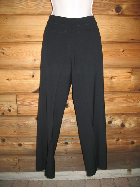 Lafayette 148 New York Wool Stretch Flat Front Boot Cut Pants Black
