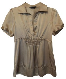 BCBGMAXAZRIA Bcbg Medium Silk Tunic Top Champagne