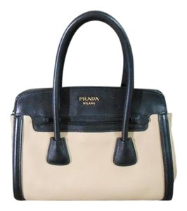 Prada Two-tone Leather Tote in Black/Beige