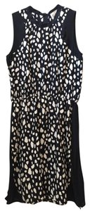 Sea short dress Black White Leopard Print Silk Sleeveless Zipper Detail on Tradesy