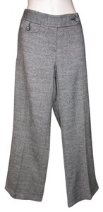 Trina Turk Wool Silk Side-button Boot Cut Pants Gray