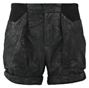 Helmut Lang Leather Size 0 Cuffed Shorts Black