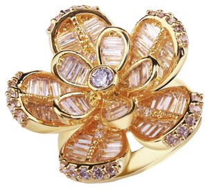 Cubic Zirconia Gold Flower Petals Ring