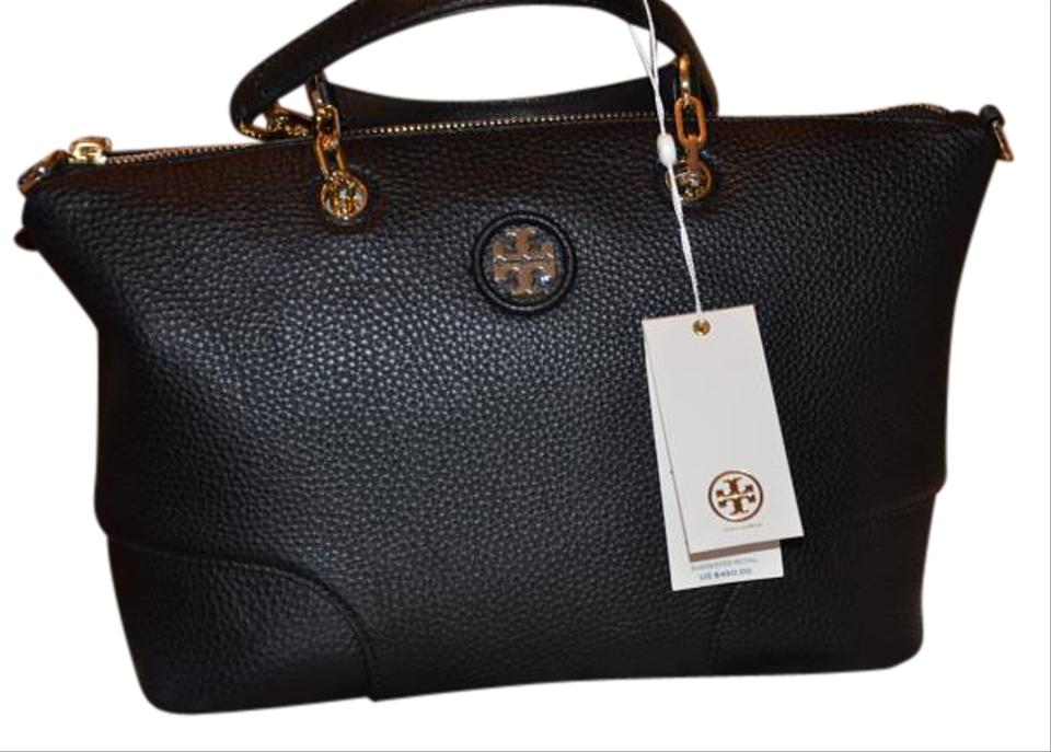 7ef85b7f7850 Tory Burch Leather Slouchy Cross Body Gold Hardware Satchel in Black Image  0 ...