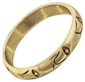 1930s Antique Art Deco 14k Solid Yellow Gold Carved Bells Wedding Band Ring