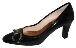 Coach Patent Leather Gold Chain Black Pumps