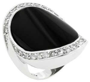 Black Onyx and Cubic Zirconia Cocktail Ring