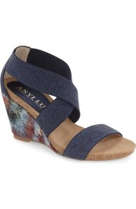 Anyi Lu Christina Wedge Blue Sandals