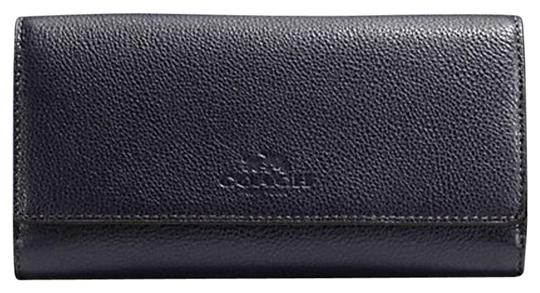brand new 4b90c deb25 Coach Midnight Blue F53708 Trifold In Pebble Leather Color Wallet 57% off  retail