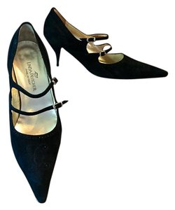 Linda Pritcher Mary Jane Suede Italian Italy black Pumps