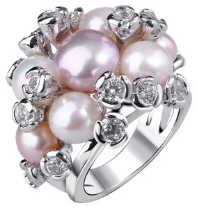 Cubic Zirconia and Shell Pearls Cluster Ring