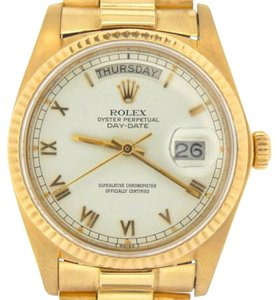 Rolex Mens Rolex Solid 18k Yellow Gold Day Date President W White Roman Dial 18038