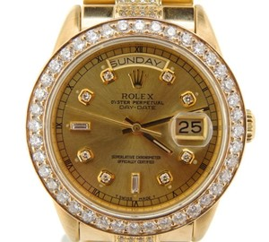 Rolex Mens Rolex Solid 18kt 18k Yellow Gold Day-date President Champagne Diamond 18038