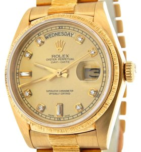 Rolex Mens Rolex Solid 18k Yellow Gold Day Date President Bark W Diamond Dial 18078