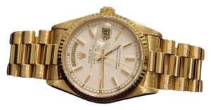 Rolex Men Rolex Solid 18kt 18k Yellow Gold Day Date President Watch Wwhite Dial 18238