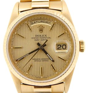 Rolex Mens Rolex Solid 18k Yellow Gold Day Date President Watch W Tapestry Dial 18238