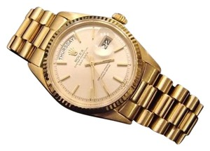 Rolex Men Rolex Solid 18kt 18k Yellow Gold Day Date President Watch Wsilver Dial 1803