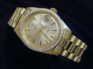 Rolex Mens Rolex Solid 18k Yellow Gold Day Date President W 1ct Diamond Bezel 1803