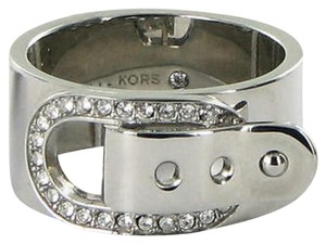 Michael Kors Michael Kors Ring Cityscape Buckle Hardware Crystals Silver-tone
