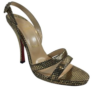 Christian Louboutin Black Gold Sandals