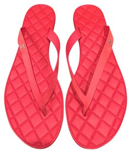 Chanel Thong Quilted Chain Pearl red Sandals