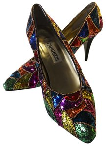 Caparros Brand New Sequined Bright Bold Colors Unique Style MULTICOLORED Pumps