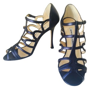 Manolo Blahnik Leather Strappy Cobalt Blue Sandals