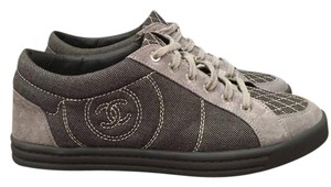 Chanel Quilted Canvas Espadrille Trainer Sneaker grey Athletic