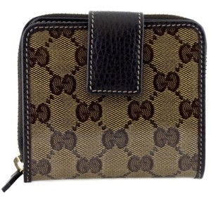 Gucci Gucci 346056 Womens Gg Crystal Coated Canvas French Zip Around Wallet