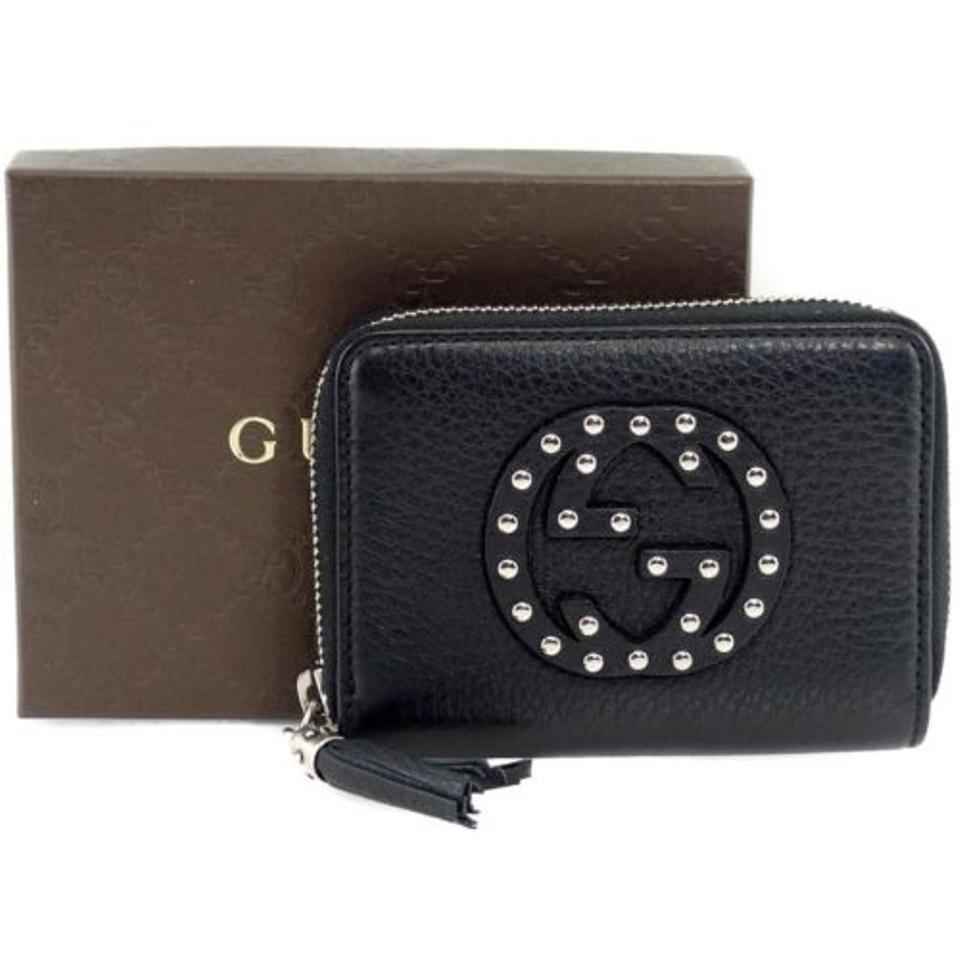 654b0f33213 Gucci Gucci 351484 Womens Soho Studded Leather Zip Around Wallet Black  Image 6. 1234567