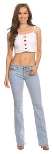 Other Light Wash Acid Wash Boot Cut Mid Rise Plus Size Trouser/Wide Leg Jeans-Light Wash